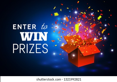 Open Red Gift Box and Confetti on blue background. Enter to Win Prizes.