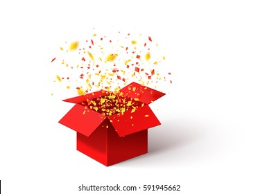 Open Red Gift Box and Confetti. Christmas Background Illustration.
