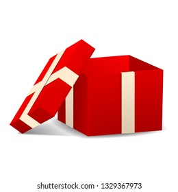 Open red gift box icon. Realistic illustration of open red gift box icon for web design isolated on white background