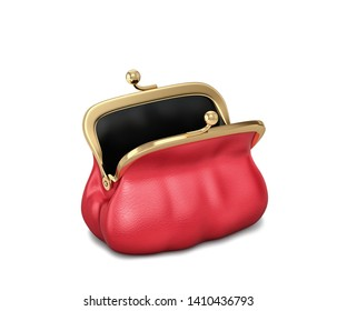Open red leather purse, female bag isolated on white. 3D rendering with clipping path