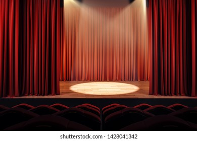 Open red theater curtains with spotlight. Performance concept. 3D Rendering