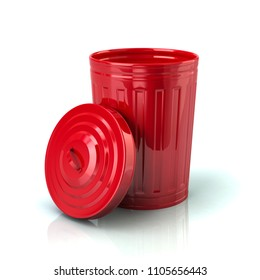 Open red trash can 3d illustration on white background
