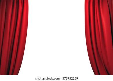Open red velvet stage curtains on white background. 3D illustration