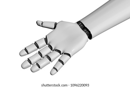 open robot hand on white. 3d rendering
