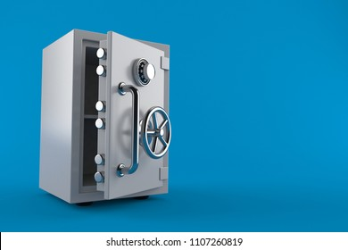 Open safe isolated on blue background. 3d illustration