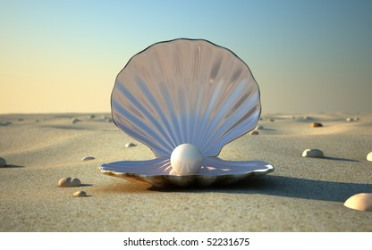 An open sea shell with a pearl inside.