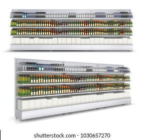 Open shelf with colored bottles in a self-service store. 3d illustration isolated on white.