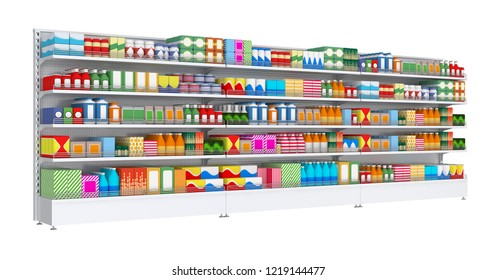 Open shelf with colored goods in a self-service store. 3d illustration isolated on white.