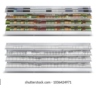 Open shelf with colored and white blank bottles in a self-service store. 3d illustration isolated on white.