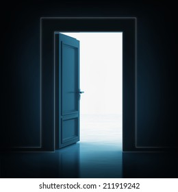 open single door in darkness to light room 3D illustration