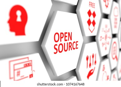 Open source concept cell blurred background 3d illustration