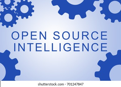 OPEN SOURCE INTELLIGENCE sign concept illustration with blue gear wheel figures on pale blue background