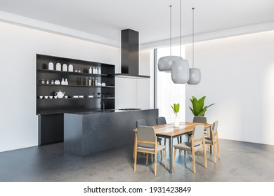 Open space eating room interior with wooden dining table and six grey chairs, side view. Sink and stove, shelves with kitchenware, 3D rendering no people