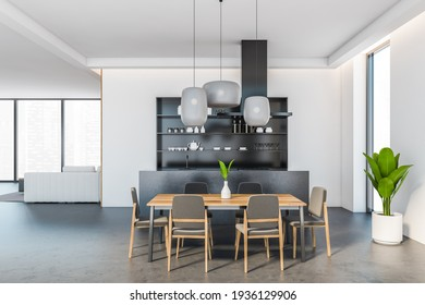 Open space eating room interior with wooden dining table and six chairs, sofa and city view on background. Sink and stove, shelves with kitchenware, 3D rendering no people