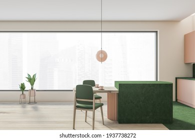 Open space home interior with green wall and rose kitchen set, panoramic windows. Dining table with green chairs, city view on skyscrapers, 3D rendering no people