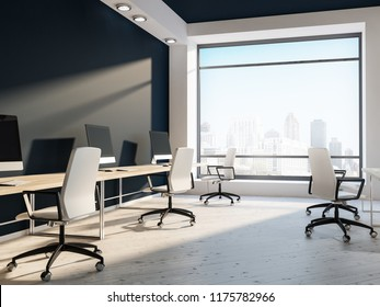 Open space office or computer lab interior with white walls, black and white ceiling, loft windows and rows of computer tables with white chairs near them. Flower beds 3d rendering mock up