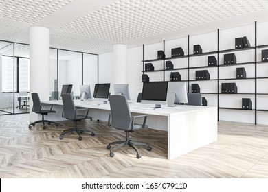 Open space office of consulting company with white walls, wooden floor, rows of white computer tables and bookcase with folders. Conference room in background. 3d rendering