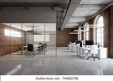 Open space office interior with brick and glass walls, a concrete floor and arch windows. A row of computer desks and a conference room. 3d rendering mock