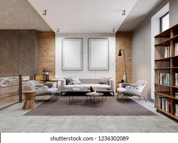 open space zone apartment with sofa and armchair and decorated wall with two empty pictures, mock up. bookcase with books. 3d rendering