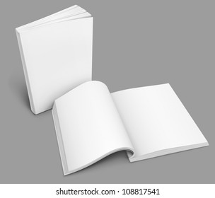open spread of book with blank white pages rasterized vector illustration