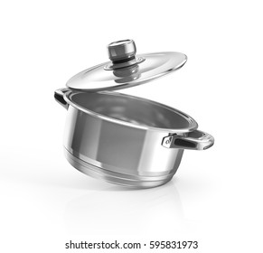 Open stainless steel cooking pot isolated on white with clipping path. 3d illustration