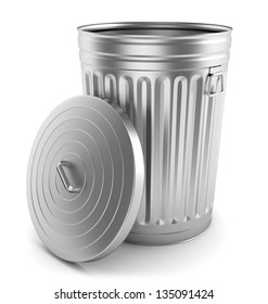 Open steel trash can isolated on white.