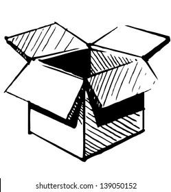 Open store box. Sketch  illustration