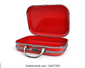 Open suitcase isolated on white