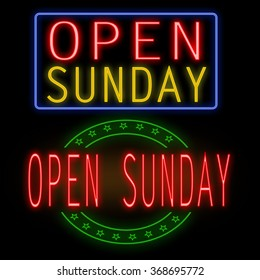 Open sunday glowing neon sign on black background