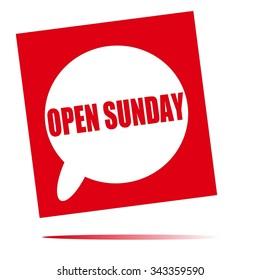 open Sunday speech bubble icon