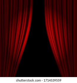 Open theatrical stage curtain. Realistic circus or opera curtains, stage red dramatic drapery. Scarlet velvet curtains in spotlight. Circus and movie hall, standup classic interior 3D Illustration