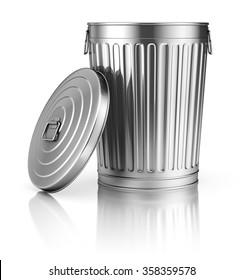 Open trash can on white reflective background