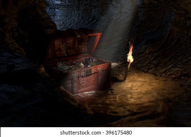 Open Treasure Chest in Cave An open treasure chest, full of jewels, crowns and coins, found in a dark cave lit only by a shaft of light and a flickering torch. 3d render.