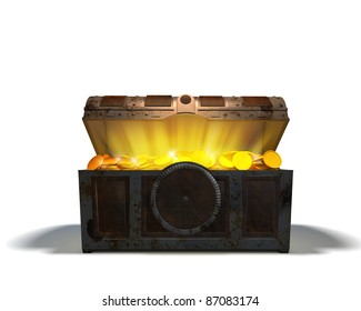 Open Treasure chest with gold