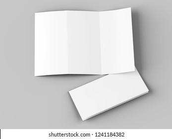 open tri-fold brochure mockup - 3d illustration