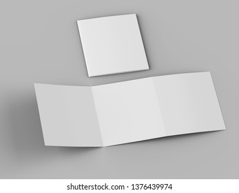 Open tri-folded laflet in square format. 3d illustration