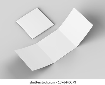 Open tri-folded laflet in square format. 3d illustration