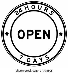 open twenty four hours seven days seal