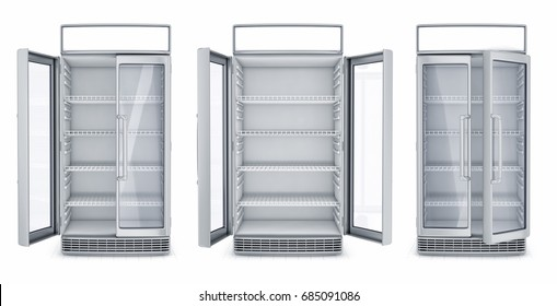 Open two doors refrigerated display cases. Set of 3d images isolated on white