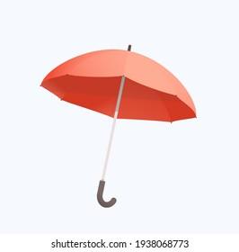 Open Umbrella simple flat realistic illustration. Isolated on white rainy season symbol umbrella.