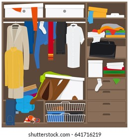 Open wardrobe with mess clothes. Household mess illustration