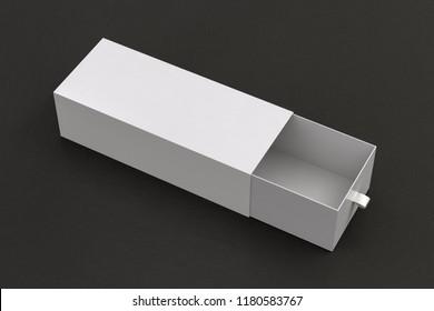 Open white blank empty long box on black leather background. 3d illustration