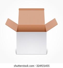 Open white cardboard box