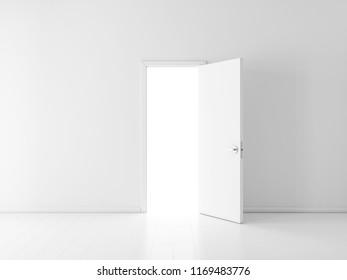 Open white door in empty room, 3d rendering
