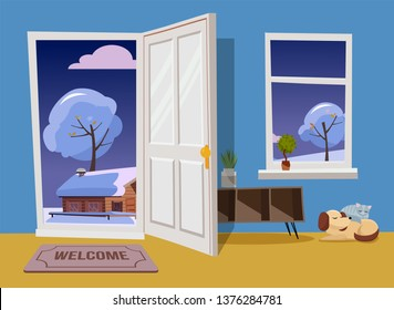 Open white door into winter evening landscape cloudy view with snowy trees and house.Door mat, table with shelves, sleeping cat and dog in blue room with yellow flore. Flat cartoon illustration