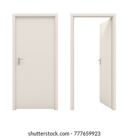 Open white door isolated on a white background. 3D illustration.