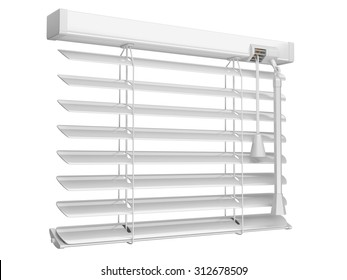 Open white window blinds. 3d illustration isolated on a white background