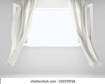 Open window with the curtains developed by a wind. Background for your picture.