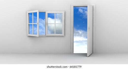 Open window and door on a blue sky