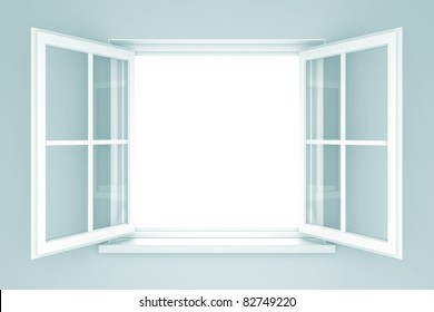 An open window on a white wall. 3d illustration
